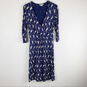 Boden Navy Faux Wrap Print 3/4 Sleeve Midi Dress